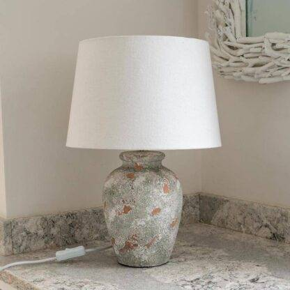 Rustic grey and white lamp