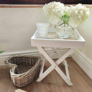 Small white butler tray table