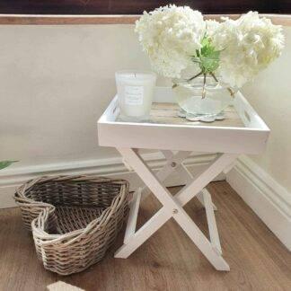 Small white butler tray table
