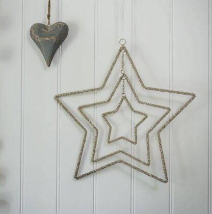 3 Layer Beaded Star Hanging Decoration