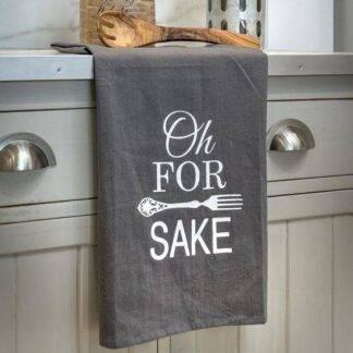 Oh For Fork Sake Grey Kitchen Tea Towel