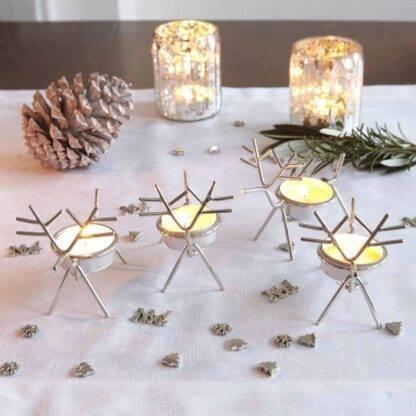 Set of 4 Christmas Reindeer Tea Light Holders