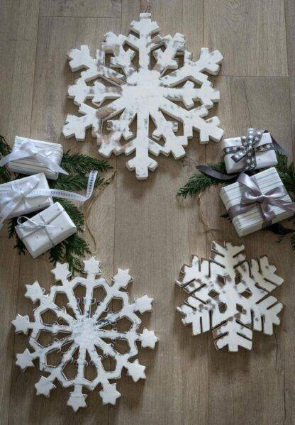Set of 3 hand carved white snowflakes
