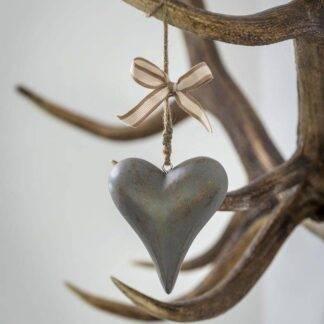 Chunky Grey Hanging Heart