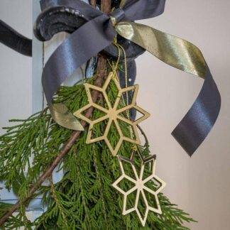 Set of 2 Gold Hanging Christmas Star Decorations