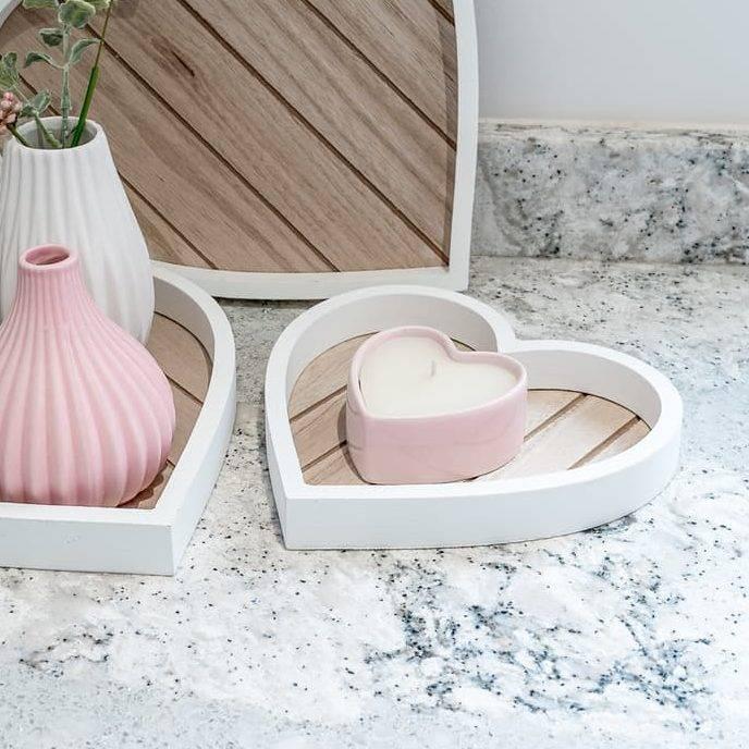 Pink heart vanilla candle