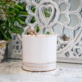 White Ceramic Planter Plant Pot With a Gloss Crackle Glaze