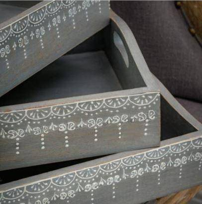 Grey Trays with White Detailing