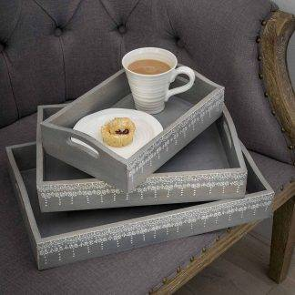 Grey Trays with Ornate White Detailing