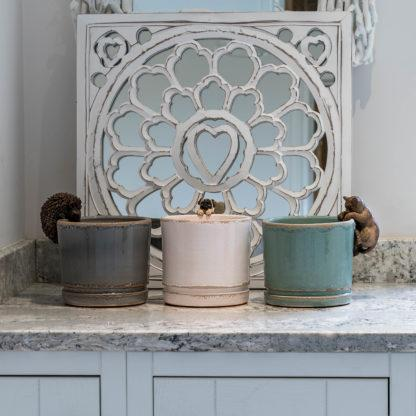 Ceramic Glazed Plant Pots in White, Sage Green or Grey