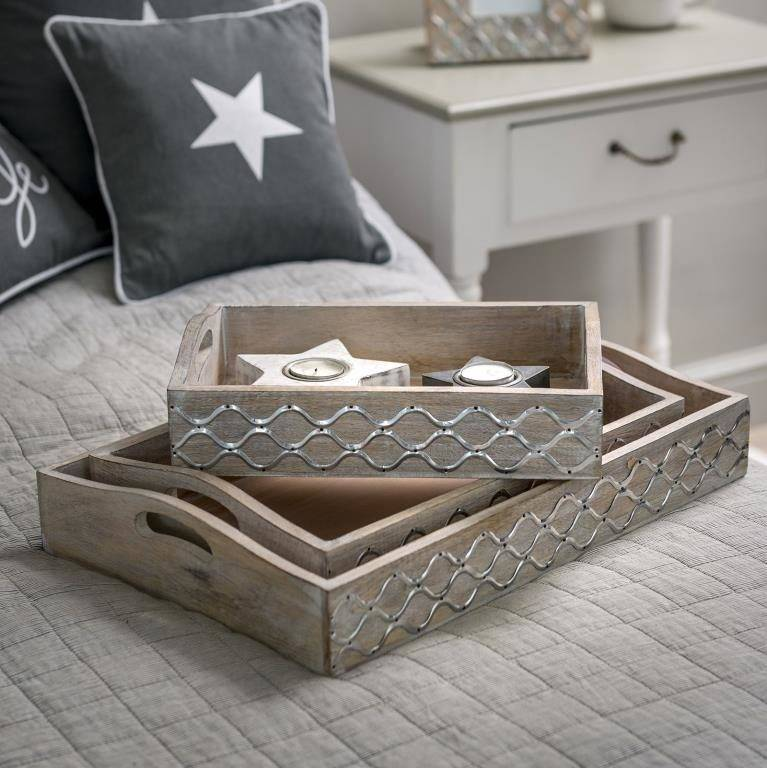 Set of Grey Lattice Trays