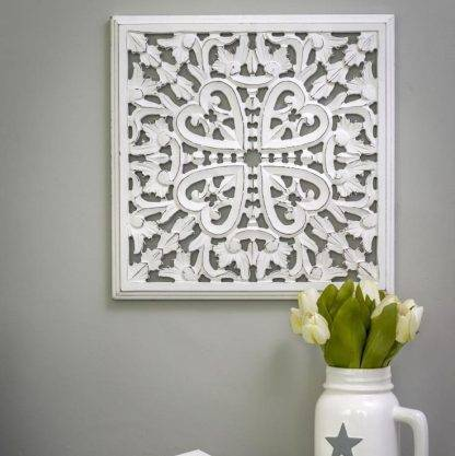 Small White Carved Wooden Wall Panel