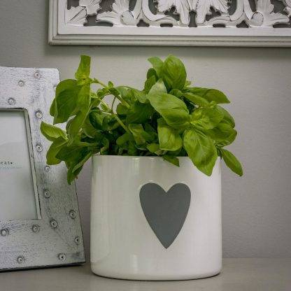 White Plant Pot with Grey Heart Design