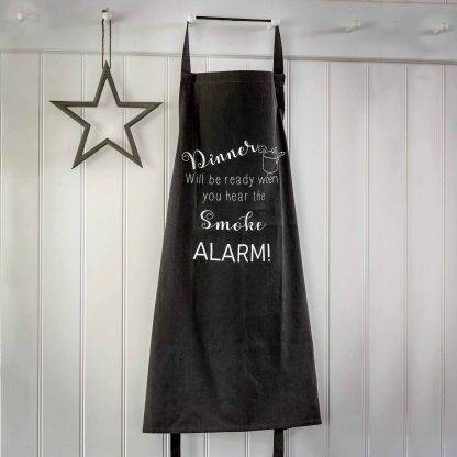 Dinner Will Be Ready When You Hear The Smoke Alarm! Dark Grey Apron