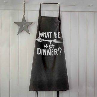 """What The Fork Is For Dinner"" Dark Grey Apron"