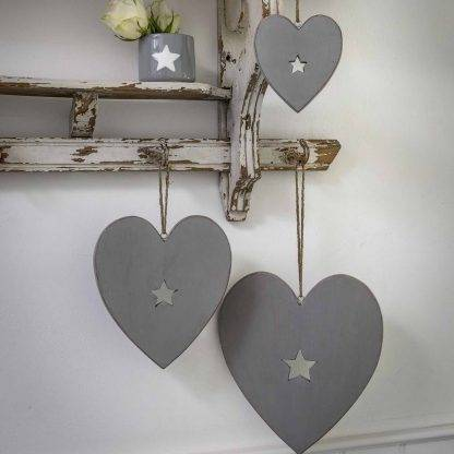 Hanging Grey Hearts With Cut Out Star