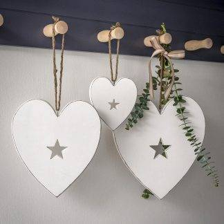 Hanging White Hearts With Cut Out Star