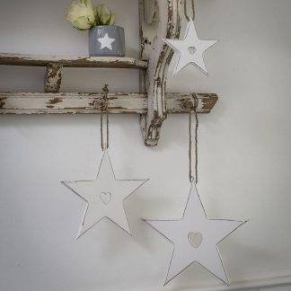 Hanging White Stars With Cut Out Heart
