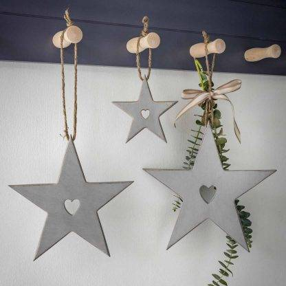 Hanging Grey Stars With Cut Out Heart