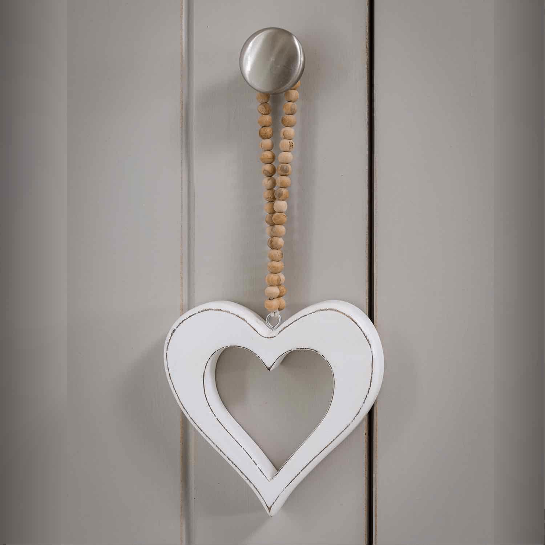 White Hanging Heart on Beaded Loop