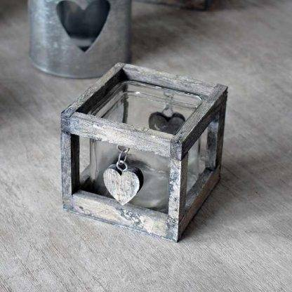 Biggie Best Single Antique Washed Glass Heart Candle Holder