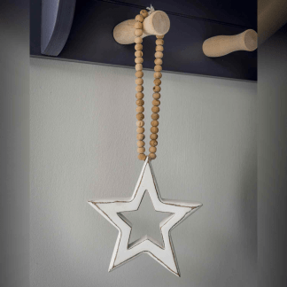 White Hanging Star on Beaded Loop