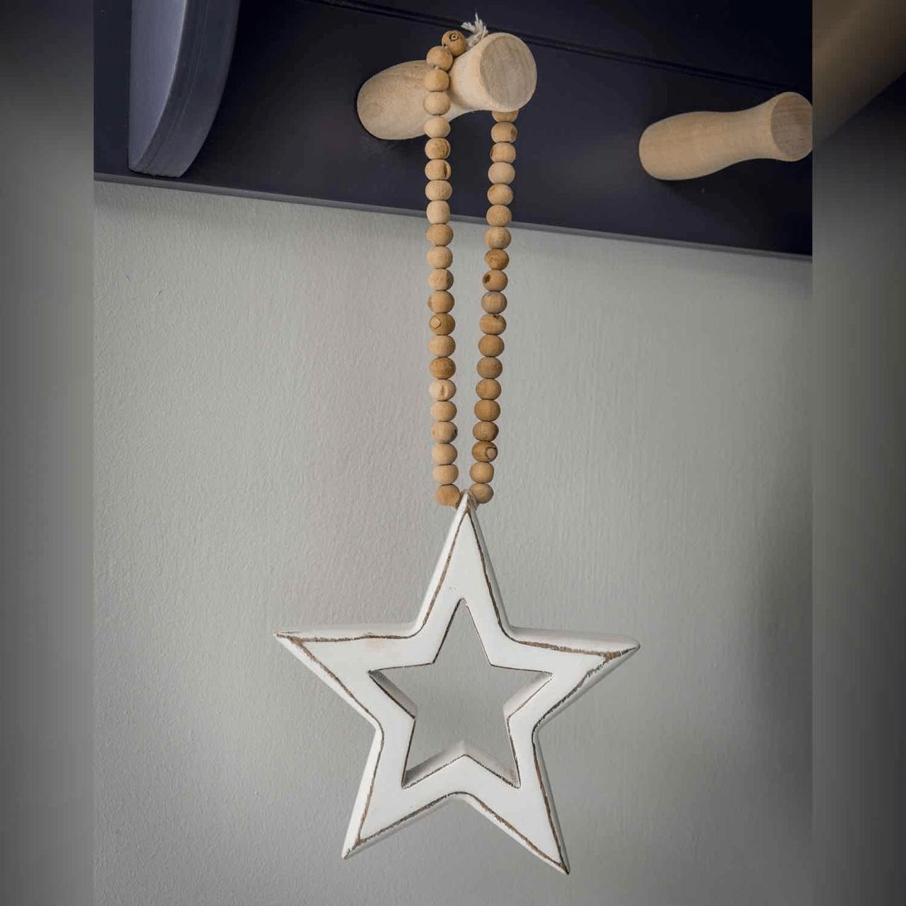 White Hanging Star on Beaded Loop