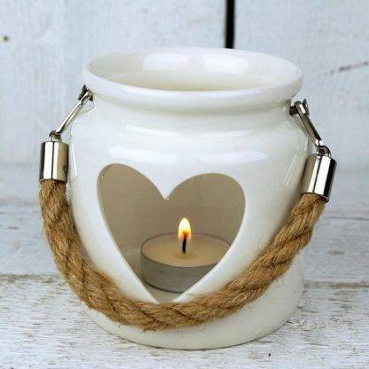 Porcelain White Heart Lantern With Rope Handle