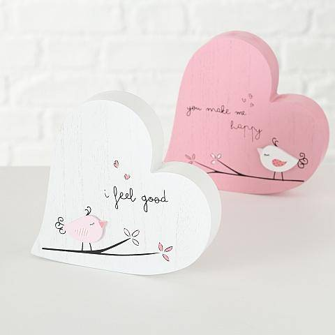 Pink or White Wooden Love Hearts