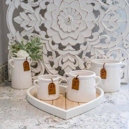 """White Ceramic """"For You"""" Planter Pots"""