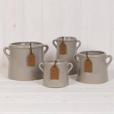 "Grey Ceramic ""For You"" Pots"