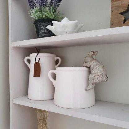 "White Ceramic ""For You"" Pots"