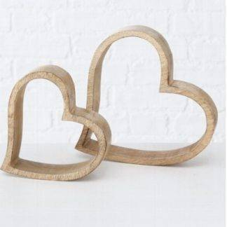 Set of 2 Mango Wood Sleepy Hearts