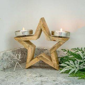 Wooden Star Tea Light Holder