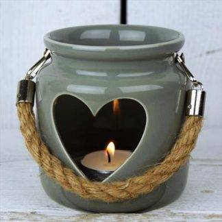 Large Porcelain Grey Heart Lantern