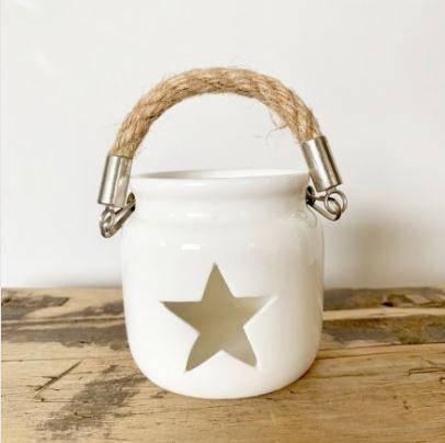 Large Porcelain White Star Tea Light Holder / Lantern