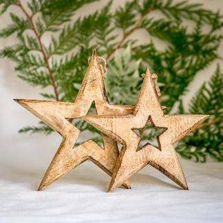 Mango Wood Hanging Stars