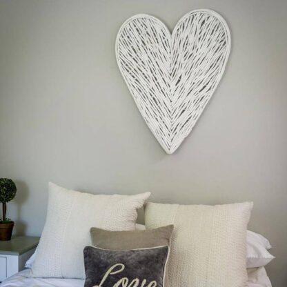 Large white wicker heart