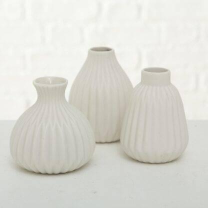 Set of 3 White Vases