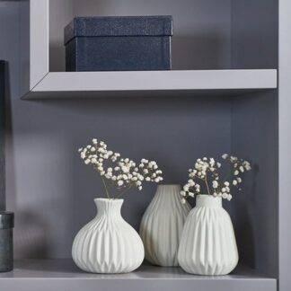 Set of 3 White Ceramic Vases
