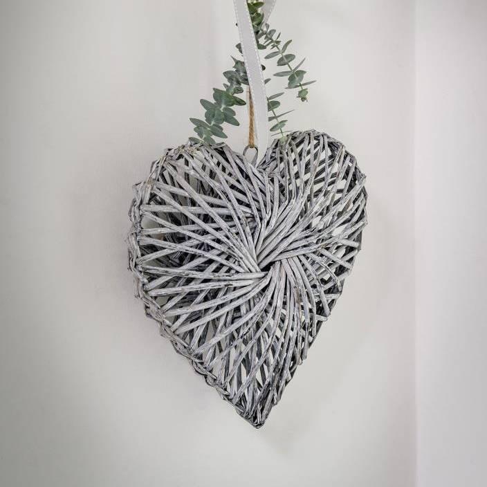 30cm Grey Twisted Wicker Heart