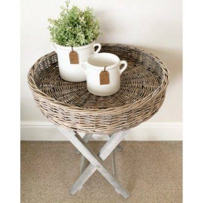 Round Wicker Tray Table