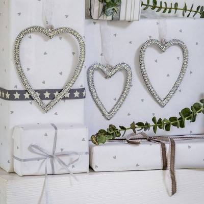 Diamante Hanging Hearts
