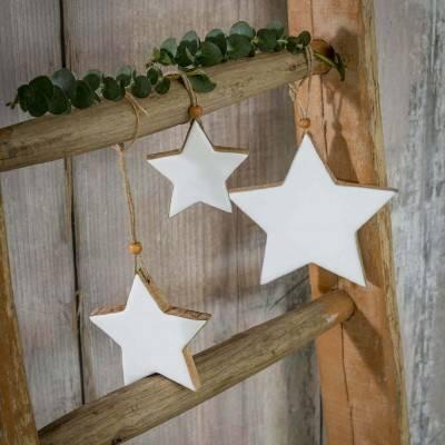 Set of 3 White Hanging Stars
