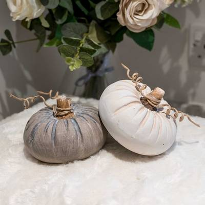 Set of 2 Grey and White Pumpkins